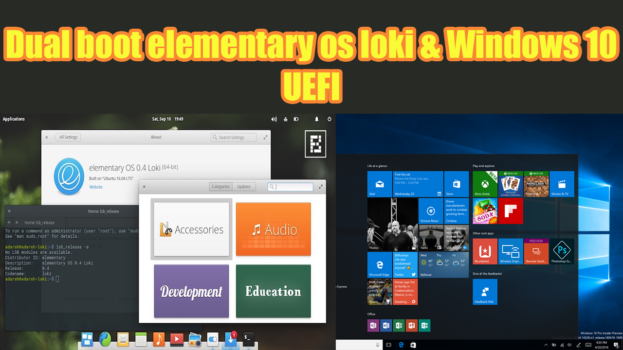 Dual Boot ELEMENTARY OS LOKI WINDOWS 10 UEFI Method